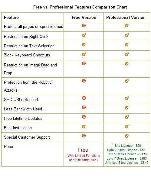 WordPress Protection Plugin Free vs Professional Version Features Comparison Chart